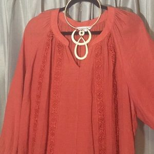 Burnt Orange pop over top with lace detail Size 1X